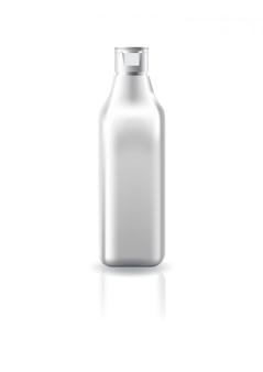 Bottiglia cosmetica quadrata in bianco chiara con il coperchio bianco del cappuccio per il modello del modello del prodotto di bellezza.