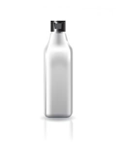 Bottiglia cosmetica quadrata in bianco chiara con il coperchio del cappuccio nero per il modello del modello del prodotto di bellezza.
