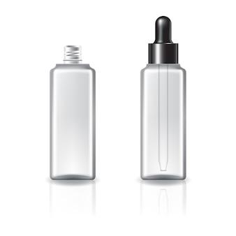 Bottiglia cosmetica quadrata trasparente con coperchio contagocce e anello nero.