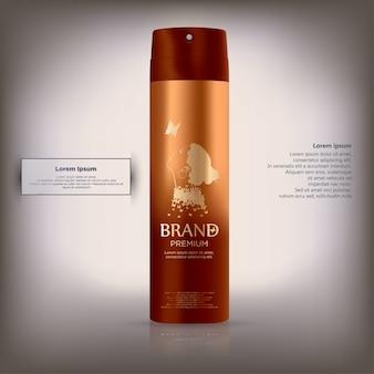 Bottiglia cosmetica rossa realistica.