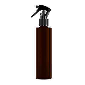 Bottiglia cosmetica spray pistola a pressione marrone.