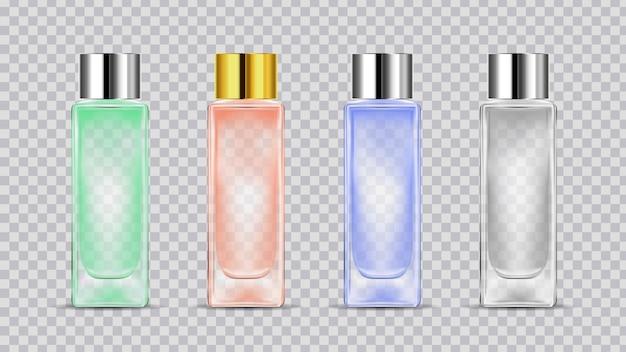 Bottiglia cosmetica trasparente realistica