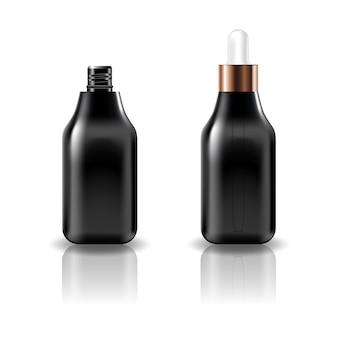 Bottiglia cosmetica vuota quadrata nera con coperchio contagocce bianco.
