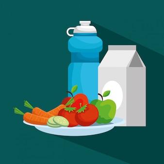 Bottiglia d'acqua con scatola di latte e frutta con verdure