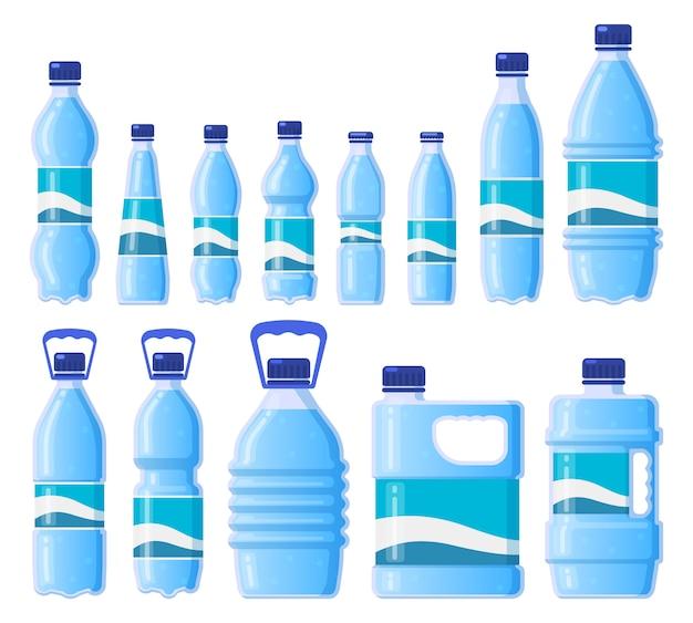 Bottiglia d'acqua di plastica. bevande in plastica, imballaggi in vetro, acqua in bottiglia, conservazione in acqua fredda. icone dell'illustrazione delle bottiglie della bevanda messe. bottiglia di bevanda, contenitore di plastica per bere acqua