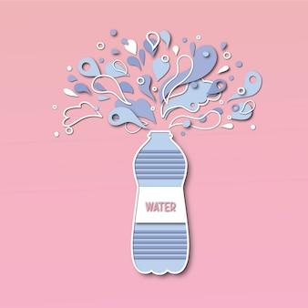 Bottiglia d'acqua stile taglio carta.