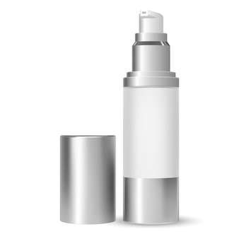 Bottiglia della pompa. contenitore cosmetico di bellezza. 3d vettoriale