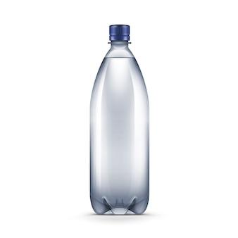 Bottiglia di acqua blu di plastica in bianco di vettore isolata su fondo bianco