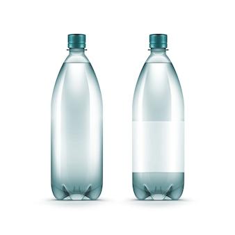 Bottiglia di acqua blu di plastica in bianco di vettore isolata