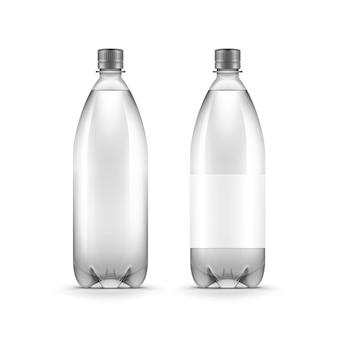 Bottiglia di acqua di plastica in bianco di vettore isolata