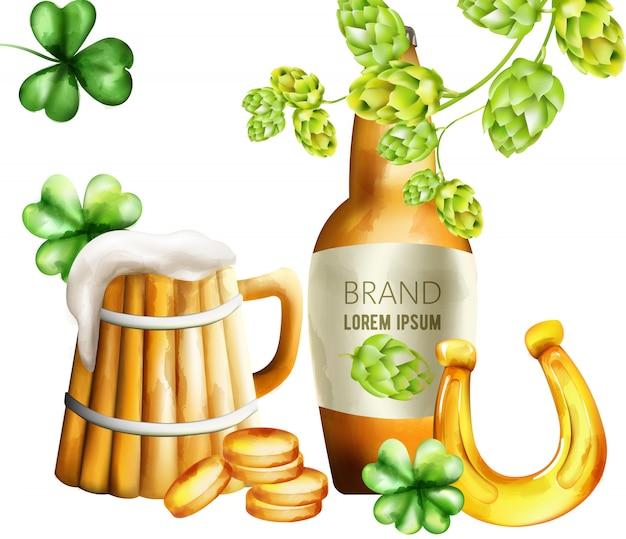 Bottiglia di birra con carciofi verdi e decorazioni di acetosella.