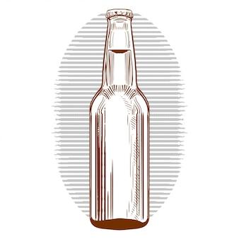 Bottiglia di birra disegnata a mano in stile incisione