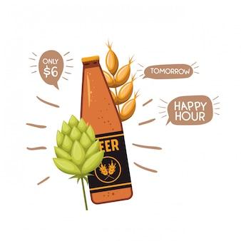 Bottiglia di birra e grano icona isolata