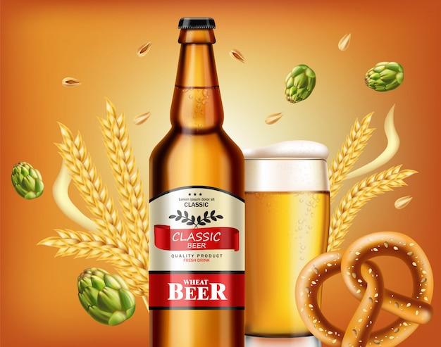 Bottiglia di birra e pretzel freschi