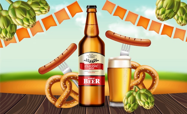 Bottiglia di birra e pretzel