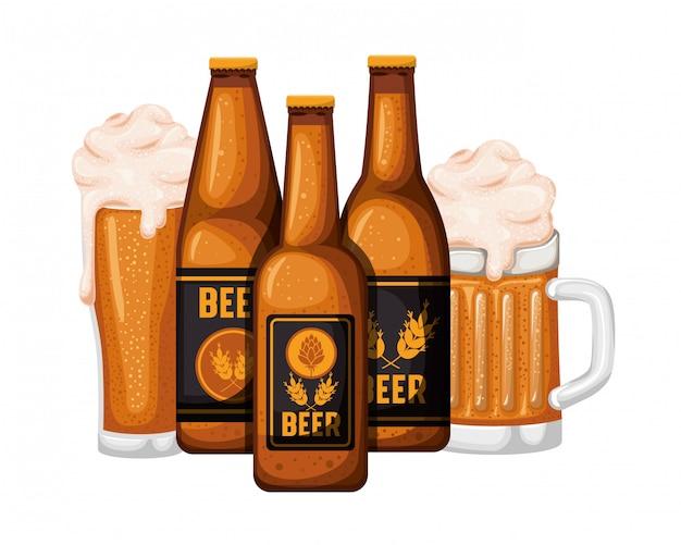 Bottiglia di birra e vetro icona isolata