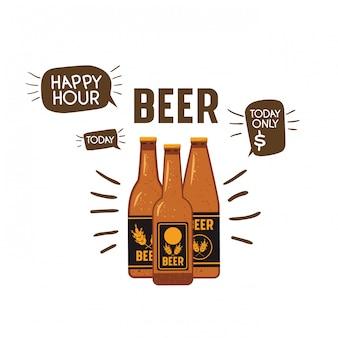 Bottiglia di birra icona isolata