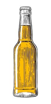 Bottiglia di birra. illustrazione incisa annata di vettore isolata su bianco