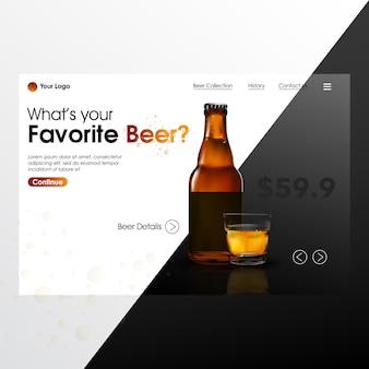 Bottiglia di birra mistino realistico con illustrazione della pagina di sbarco