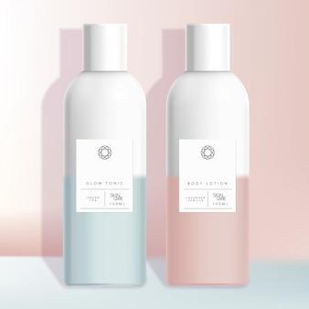 Bottiglia di boston healthcare, medical, toiletries, hair care o skincare beauty con design minimale sfumato rosa o blu pastello