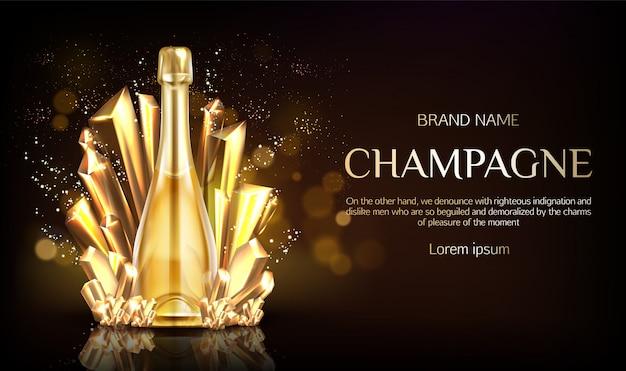 Bottiglia di champagne con banner di grani di cristallo oro