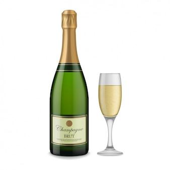 Bottiglia di champagne e design bicchiere di champagne