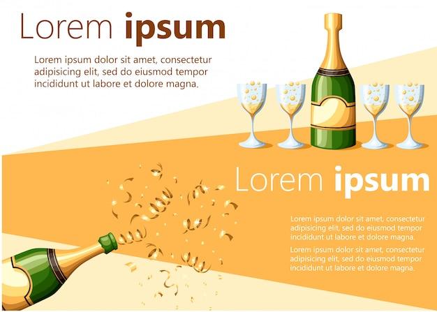 Bottiglia di champagne esplosione in lamina d'oro e versata nell'illustrazione di bicchieri su sfondo bianco e giallo con posto per la pagina del sito web di testo e l'app mobile