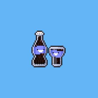 Bottiglia di cola simpatico cartone animato pixel con glass.8bit.
