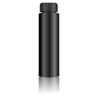 Bottiglia di cosmetici neri per la colorazione dei capelli, gel, olio.