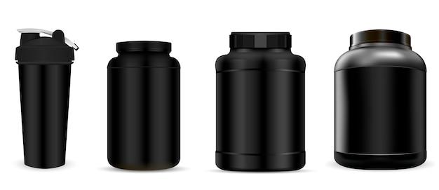 Bottiglia di integratore di proteine del siero di latte. sport jar