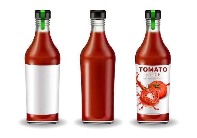 Bottiglia di ketchup imposta il mockup