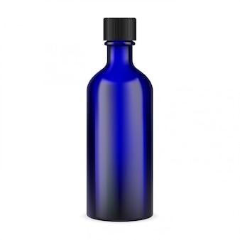 Bottiglia di medicina di vetro blu. contenitore per farmacia