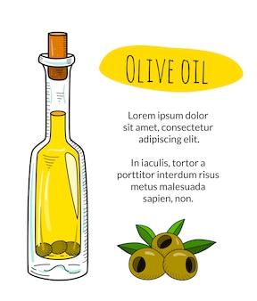 Bottiglia di olio d'oliva disegnata a mano variopinta con testo di esempio