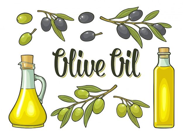 Bottiglia di olio di vetro con tappo di sughero e ramo di ulivo con foglie
