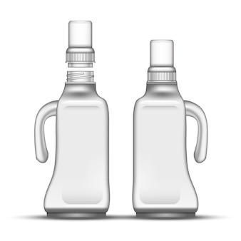 Bottiglia di plastica candeggina vuota con manico