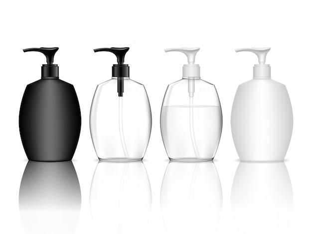 Bottiglia di plastica cosmetica con pompa dosatrice. contenitore liquido per gel, lozione, crema, shampoo, schiuma da bagno. pacchetto di prodotti di bellezza.