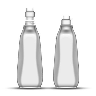 Bottiglia di plastica della candeggina per lavare i piatti in bianco
