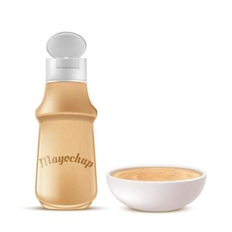 Bottiglia di plastica realistica e ciotola di ceramica piena di mayochup