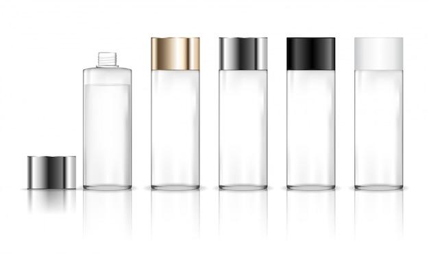 Bottiglia di plastica trasparente cosmetica. contenitore liquido per gel, lozione, crema, shampoo, schiuma da bagno. pacchetto di prodotti di bellezza.