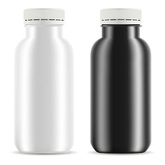 Bottiglia di plastica yogurt set. mockup del contenitore alimentare