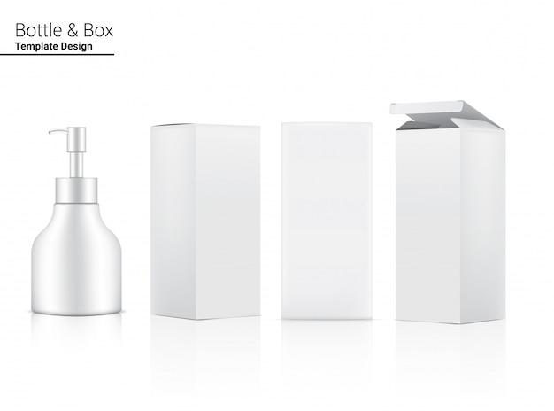 Bottiglia di pompa lucida, cosmetico realistico e scatola tridimensionale per sbiancamento della cura della pelle e invecchiamento illustrazione merce antirughe. assistenza sanitaria e medica.