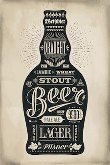 Bottiglia di poster di birra con scritte disegnate a mano