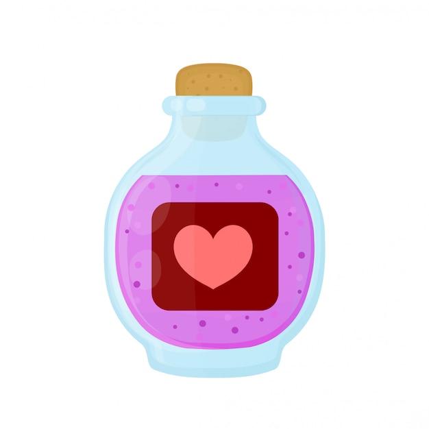 Bottiglia di pozione d'elisir rosa d'amore magico. icona illustrazione piatto dei cartoni animati. isolato su bianco pozione d'elisir d'amore in bottiglia