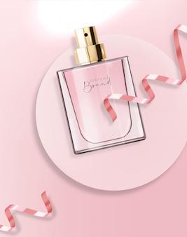 Bottiglia di profumo realistica e rosa, contenitore isolato, design elegante, confezione, aroma liquido floreale, illustrazione di nuovo prodotto