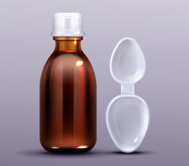 Bottiglia di sciroppo per la tosse e cucchiaio di plastica, farmacia