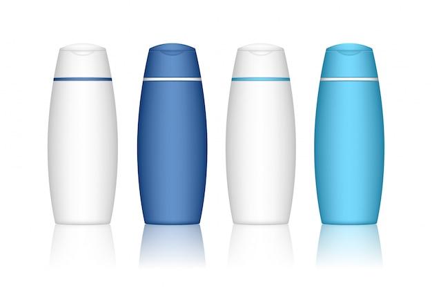 Bottiglia di shampoo isolato. contenitore cosmetico per liquidi, lozioni, schiuma da bagno. pacchetto di prodotti di bellezza.