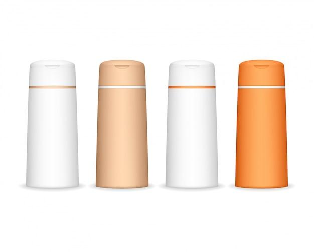 Bottiglia di shampoo isolato. flacone cosmetico per liquidi, shampoo, schiuma da bagno. pacchetto di prodotti di bellezza.