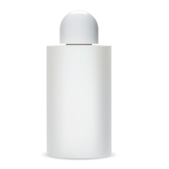 Bottiglia di shampoo pacchetto cosmetico di vetro.