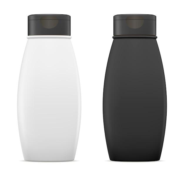 Bottiglia di shampoo pacchetto cosmetico modello vettoriale
