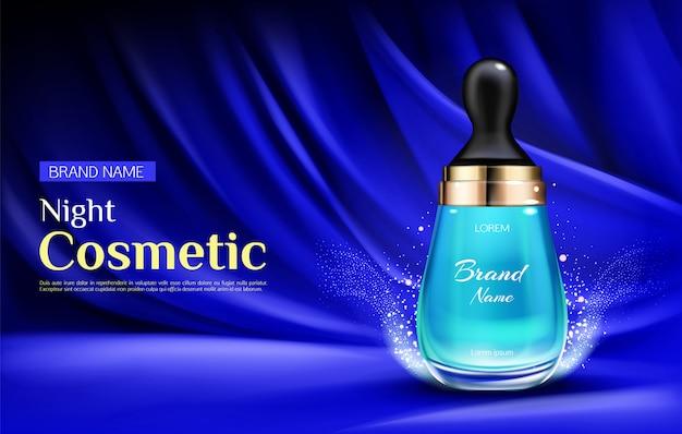 Bottiglia di siero cosmetico di bellezza di notte con gocciolina